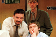 The Office. Image shows from L to R: David Brent (Ricky Gervais), Gareth Keenan (Mackenzie Crook), Tim Canterbury (Martin Freeman). Image credit: British Broadcasting Corporation.