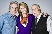 The Old Guys. Image shows from L to R: Tom (Roger Lloyd-Pack), Sally (Jane Asher), Roy (Clive Swift). Image credit: British Broadcasting Corporation.