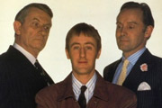 The Piglet Files. Image shows from L to R: Maxwell (John Ringham), Peter 'Piglet' Chapman (Nicholas Lyndhurst), Major Maurice Drummond (Clive Francis). Copyright: London Weekend Television.