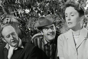 The Pure Hell Of St. Trinian's. Image shows from L to R: Professor Canford (Cecil Parker), Flash Harry (George Cole), Sgt. Ruby Gates (Joyce Grenfell). Copyright: Vale Film Productions.