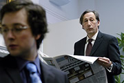 The Thick Of It. Image shows from L to R: Oliver Reeder (Chris Addison), Hugh Abbot (Chris Langham). Copyright: BBC.