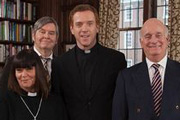 The Vicar Of Dibley. Image shows from L to R: Geraldine Grainger (Dawn French), Hugo Horton (James Fleet), Vicar (Damian Lewis), David Horton (Gary Waldhorn). Image credit: Tiger Aspect Productions.