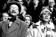 Till Death Us Do Part. Image shows from L to R: Alf Garnett (Warren Mitchell), Mike Rawlins (Anthony Booth). Image credit: British Broadcasting Corporation.