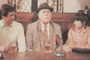 Tom, Dick And Harriet. Image shows from L to R: Dick (Ian Ogilvy), Tom (Lionel Jeffries), Harriet (Brigit Forsyth). Copyright: Thames Television.