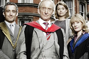 Trinity. Image shows from L to R: Dr Gabriel Lloyd (Michael Higgs), Dr Edmund Maltravers (Charles Dance), Charlotte Arc (Antonia Bernath), Dr Angela Donne (Claire Skinner). Copyright: Roughcut Television.