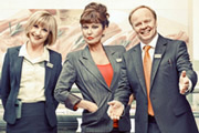 Trollied. Image shows from L to R: Julie (Jane Horrocks), Lorraine (Stephanie Beacham), Gavin (Jason Watkins). Image credit: Roughcut Television.