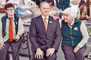 Trollied. Image shows from L to R: Harry (Jack Carroll), Gavin (Jason Watkins), Margaret (Rita May). Image credit: Roughcut Television.