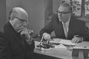 Turn Out The Lights. Image shows from L to R: Leonard Swindley (Arthur Lowe), Walter Hunt (Robert Dorning). Image credit: Granada Television.