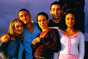 Two Pints Of Lager And A Packet Of Crisps. Image shows from L to R: Janet (Sheridan Smith), Gary 'Gaz' Wilkinson (Will Mellor), Donna Henshaw (Natalie Casey), Jonny (Ralf Little), Louise (Kathryn Drysdale). Copyright: BBC.