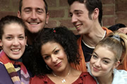 Two Pints Of Lager And A Packet Of Crisps. Image shows from L to R: Donna Henshaw (Natalie Casey), Gary 'Gaz' Wilkinson (Will Mellor), Louise (Kathryn Drysdale), Jonny (Ralf Little), Janet (Sheridan Smith). Copyright: BBC.