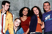 Two Pints Of Lager And A Packet Of Crisps. Image shows from L to R: Jonny (Ralf Little), Janet (Sheridan Smith), Louise (Kathryn Drysdale), Donna Henshaw (Natalie Casey), Gary 'Gaz' Wilkinson (Will Mellor). Copyright: BBC.