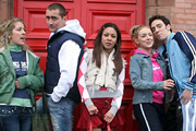 Two Pints Of Lager And A Packet Of Crisps. Image shows from L to R: Donna Henshaw (Natalie Casey), Gary 'Gaz' Wilkinson (Will Mellor), Louise (Kathryn Drysdale), Janet (Sheridan Smith), Jonny (Ralf Little). Copyright: BBC.