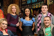 Two Pints Of Lager And A Packet Of Crisps. Image shows from L to R: Janet (Sheridan Smith), Donna Henshaw (Natalie Casey), Louise (Kathryn Drysdale), Tim (Luke Gell), Gary 'Gaz' Wilkinson (Will Mellor). Copyright: BBC.