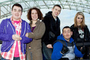 Two Pints Of Lager And A Packet Of Crisps. Image shows from L to R: Tim (Luke Gell), Donna (Natalie Casey), Billy (Freddie Hogan), Gaz (Will Mellor), Cassie (Georgia Henshaw). Copyright: BBC.