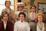 Up The Women. Image shows from L to R: Helen (Rebecca Front), Gwen (Vicki Pepperdine), Emily (Georgia Groome), Margaret (Jessica Hynes), Eva (Emma Pierson), Myrtle (Judy Parfitt). Image credit: British Broadcasting Corporation.