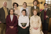 Up The Women. Image shows from L to R: Frank (Adrian Scarborough), Helen (Rebecca Front), Eva (Emma Pierson), Emily (Georgia Groome), Margaret (Jessica Hynes), Gwen (Vicki Pepperdine), Myrtle (Judy Parfitt), Thomas (Ryan Sampson). Image credit: British Broadcasting Corporation.