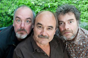 Very Old Pretenders. Image shows from L to R: Rab (Jack Docherty), Andrew Merron (David Haig), MacDonald (Gordon Kennedy). Copyright: ABsoLuTeLy Productions.