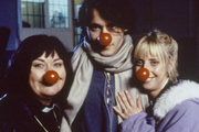 The Vicar Of Dibley. Image shows from L to R: Geraldine Grainger (Dawn French), Johnny Depp, Alice Tinker (Emma Chambers). Image credit: Tiger Aspect Productions.