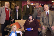 The Vicar Of Dibley. Image shows from L to R: Frank Pickle (John Bluthal), Alice Tinker (Emma Chambers), Hugo Horton (James Fleet), Owen Newitt (Roger Lloyd-Pack), Geraldine Grainger (Dawn French), Jim Trott (Trevor Peacock), David Horton (Gary Waldhorn). Image credit: Tiger Aspect Productions.