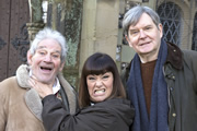 The Vicar Of Dibley. Image shows from L to R: Jim Trott (Trevor Peacock), Geraldine Grainger (Dawn French), Hugo Horton (James Fleet). Image credit: Tiger Aspect Productions.