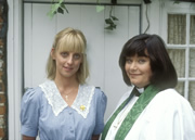 The Vicar Of Dibley. Image shows from L to R: Alice Tinker (Emma Chambers), Geraldine Grainger (Dawn French). Image credit: Tiger Aspect Productions.