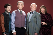 Vicious. Image shows from L to R: Ash (Iwan Rheon), Freddie (Ian McKellen), Stuart (Derek Jacobi), Violet (Frances de la Tour). Image credit: Brown Eyed Boy.