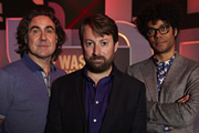 Was It Something I Said?. Image shows from L to R: Micky Flanagan, David Mitchell, Richard Ayoade. Copyright: Maverick Television / That Mitchell & Webb Company.