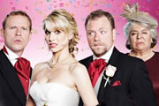 The Wedding Video. Image shows from L to R: Tim (Robert Webb), Saskia (Lucy Punch), Raif (Rufus Hound), Patricia (Miriam Margolyes). Image credit: Timeless Films.