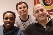 What Are You Laughing At? - The British Comedy Podcast. Episode 8. Image shows from L to R: Gina Yashere, James Cary, Dave Cohen.