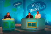 What The Dickens?. Image shows from L to R: Sandi Toksvig, Dom Joly, Dave Gorman. Image credit: Liberty Bell.