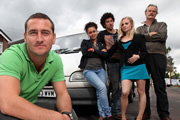 White Van Man. Image shows from L to R: Ollie (Will Mellor), Liz (Naomi Bentley), Darren (Joel Fry), Emma (Georgia Tennant), Tony (Clive Mantle). Copyright: ITV Studios.