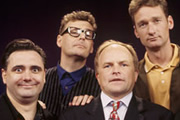 Whose Line Is It Anyway?. Image shows from L to R: Tony Slattery, Greg Proops, Clive Anderson, Ryan Stiles. Copyright: Hat Trick Productions.
