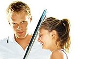 Wimbledon. Image shows from L to R: Peter Colt (Paul Bettany), Lizzie Bradbury (Kirsten Dunst).