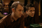 World Of Pub. Image shows from L to R: Barry (Phil Cornwell), Garry (Peter Serafinowicz). Image credit: British Broadcasting Corporation.