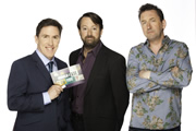Would I Lie To You?. Image shows from L to R: Rob Brydon, David Mitchell, Lee Mack. Copyright: Zeppotron.