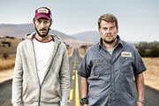 The Wrong Mans. Image shows from L to R: Sam (Mathew Baynton), Phil (James Corden). Copyright: BBC / Hulu.