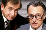 Yes Minister. Image shows from L to R: Bernard Woolley (Derek Fowlds), James Hacker (Paul Eddington). Image credit: British Broadcasting Corporation.