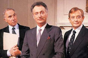 Yes, Prime Minister. Image shows from L to R: Sir Humphrey Appleby (Nigel Hawthorne), James Hacker (Paul Eddington), Bernard Woolley (Derek Fowlds). Copyright: BBC.