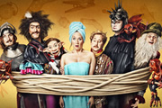 Yonderland. Image shows from L to R: Ben Willbond, Mathew Baynton, Debbie Maddox (Martha Howe-Douglas), Jim Howick, Simon Farnaby, Laurence Rickard. Image credit: Working Title Films.