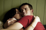 Him & Her. Image shows from L to R: Becky (Sarah Solemani), Steve (Russell Tovey). Image credit: Big Talk Productions.