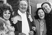Yus, My Dear. Image shows from L to R: Lil Briggs (Queenie Watts), Wally Briggs (Arthur Mullard), Molly (Valerie Walsh), Benny Briggs (Mike Reid). Image credit: London Weekend Television.