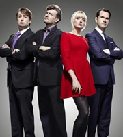 10 O'Clock Live. Image shows from L to R: David Mitchell, Charlie Brooker, Lauren Laverne, Jimmy Carr. Image credit: Zeppotron.