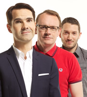 8 Out Of 10 Cats. Image shows from L to R: Jimmy Carr, Sean Lock, Jon Richardson. Image credit: Zeppotron.