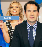 8 Out Of 10 Cats Does Countdown. Image shows from L to R: Rachel Riley, Jimmy Carr. Image credit: ITV Studios.