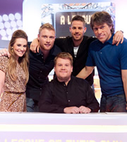 A League Of Their Own. Image shows from L to R: Georgie Thompson, Andrew Flintoff MBE, James Corden, Jamie Redknapp, John Bishop. Image credit: CPL Productions.