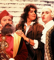 A Word In Your Era. Image shows from L to R: Nostradamus (Steve Steen), Mary Read (Helen Atkinson-Wood), Casanova (Steve Coogan). Copyright: Channel X.