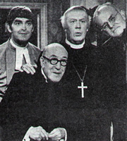 All Gas And Gaiters. Image shows from L to R: The Rev Mervyn Noote (Derek Nimmo), Henry - the Archdeacon (Robertson Hare), The Bishop (William Mervyn), Lionel Pugh Critchley - The Dean (John Barron). Image credit: British Broadcasting Corporation.