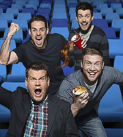 A League Of Their Own. Image shows from L to R: Jamie Redknapp, James Corden, Jack Whitehall, Andrew Flintoff MBE. Image credit: CPL Productions.