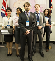 Ambassadors. Image shows from L to R: Natalia (Shivani Ghai), Isabel (Amara Karan), Keith Davis (David Mitchell), Neil Tilly (Robert Webb), Caitlin (Susan Lynch). Image credit: Big Talk Productions.