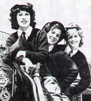 Backs To The Land. Image shows from L to R: Jenny Dabb (Terese Stevens), Shirley Bloom (Philippa Howell), Daphne Finch-Beauchamp (Marilyn Galsworthy). Image credit: Anglia TV.